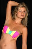 Bikini. Beautiful tall German blonde in a striped bikini Royalty Free Stock Photo
