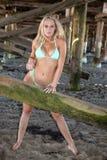 Bikini blond unter einem Pier Lizenzfreie Stockfotos