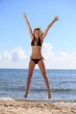 Bikini bottom model. Young woman on beach. Bikini bottom model Royalty Free Stock Photos
