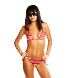 bikini brunette προκλητικό Στοκ Φωτογραφίες