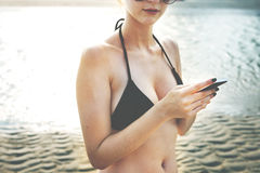 Bikini Cellphone Chill Beach Connecting Tourism Concept Royalty Free Stock Images