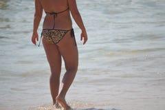 Bikini, ciało, pasek, swimsuit, bielizna, morze, ocean, erotyka Obrazy Royalty Free