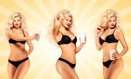 Bikini and coffee. stock photos