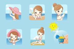 Bikini d'uso della donna sulla spiaggia royalty illustrazione gratis
