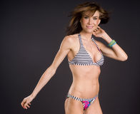 She Moves Like Dancer Wearing Swimsuit Bikini stock image