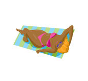 Bikini de la muchacha del persona que toma el sol Foto de archivo libre de regalías