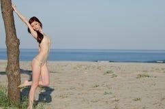 Bikini de port de combinaison de jeune femme rouge sexy de cheveux Images stock