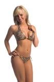 Bikini di Lepoard biondo Immagini Stock