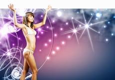 Bikini dziewczyna z sztandarem Zdjęcie Stock