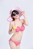 Bikini för skönhetkvinnakläder lyckligt Fotografering för Bildbyråer