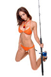 Bikini Fisher woman Royalty Free Stock Photo