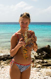 Bikini Girl. With big lobster Royalty Free Stock Photo