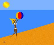 Bikini Girl. Tan Bikini Girl on Beach with Beach Ball Stock Photography