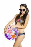 Bikini girl with a ball Stock Photo