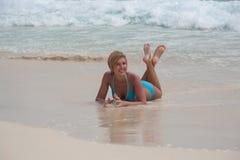 Bikini Girl at caribbean  Sea beach Royalty Free Stock Image