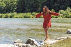 Bikini girl. A bikini girl is enjoying the river Stock Images
