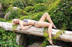 Bikini girl lying on loge. Royalty Free Stock Image