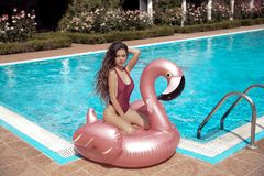 Bikini girl model enjoying on inflatable giant pink flamingo pool float mattress in fashion swimwear. Attractive tanned woman. With long hair posing on luxury stock photography