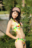 The bikini girl in the park. The bikini girl in a park Stock Photos
