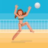 Bikini girl playing ball on the beach. Bikini girl playing beach volley Royalty Free Stock Photos