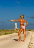 Bikini Girl on road. Bikini Girl blue sky summer Royalty Free Stock Photos