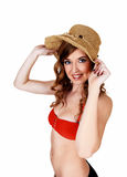 Bikini girl with straw hat. Stock Photography