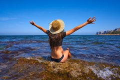 Bikini girl in summer Mediterranean beach having fun stock photography