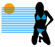 Bikini girl sunbathing Royalty Free Stock Images