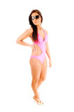 Bikini girl with sunglasses. Royalty Free Stock Images