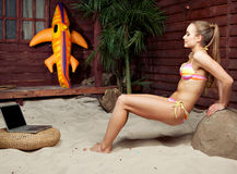 Bikini girl in the tropical resort Stock Photography