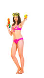 Bikini girl with two water gun Royalty Free Stock Image