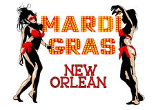 Bikini girls at Mardi gras three Stock Image