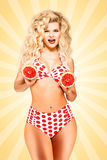 Bikini and grapefruit. Royalty Free Stock Photos