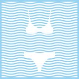 bikini Icône colorée par vecteur sur le fond rayé onduleux illustration stock