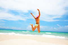 Bikini jumping Stock Photos