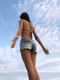Bikini lady rejoice to sky Royalty Free Stock Images
