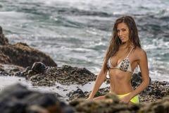 Bikini model Na plaży zdjęcia royalty free