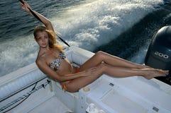 Bikini model posing on the boat Stock Photo