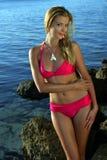 Bikini model posing on the rocks Stock Images