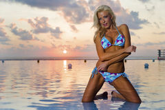 Bikini Model At Sunrise Stock Photos