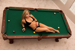Bikini Pool Table Royalty Free Stock Photo