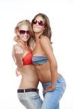bikini przychodzić gesta dziewczyny pokazywać wierzchołki fotografia royalty free