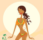 Bikini raggae girl. Young exotic girl in raggae style on beach. Vector Illustration Royalty Free Stock Images