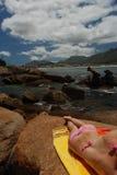 Bikini rock. Bikini figure on rock at Fish Hoek Beach, Cape Town Royalty Free Stock Photos