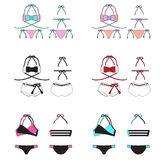 Bikini Set. This are bikini design. There are sexy and cute 2 piece swimwear Royalty Free Illustration