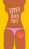 Bikini Sexy Girl tatoo. Summer beach party poster. Vector illus Stock Photos