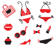 Bikini and women items collection Stock Photography