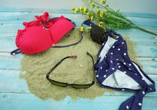 Bikini and sun glass in summer stock photos