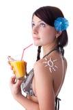 bikini sunscreen νεολαίες γυναικών Στοκ Εικόνα