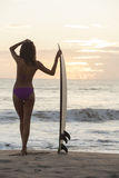 Bikini Surfer γυναικών & παραλία ηλιοβασιλέματος ιστιοσανίδων Στοκ Εικόνες